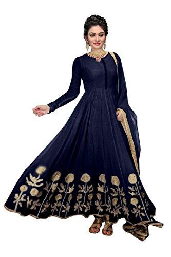 Janasya Women's Navy Embroidered Georgette Dress