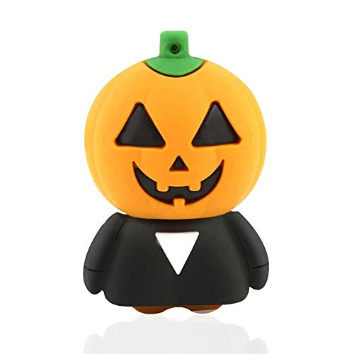 GXWLWXUP Halloween-Kürbis-Form-Entwurf USB 2.0-Flash-Laufwerk Cartoon Memory Stick Cooler Daumenantrieb Lustiges Kürbis-Gummi Halloween-Erntedankfest (Size : 16GB)