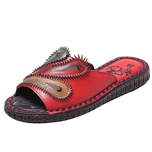 Vogstyle Damen Strand Pantoffeln Leder Ethnischen Stil Flach Peep-Toe Sandalen Art 1 Rot