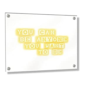 Feel Good Art Wall Mounted Acrylic Frame with Stand-off Bolts (30 x 20 x 0.6 cm, Small, Buttercup Yellow, You can be anyone you want to be/Nursery Dècor)