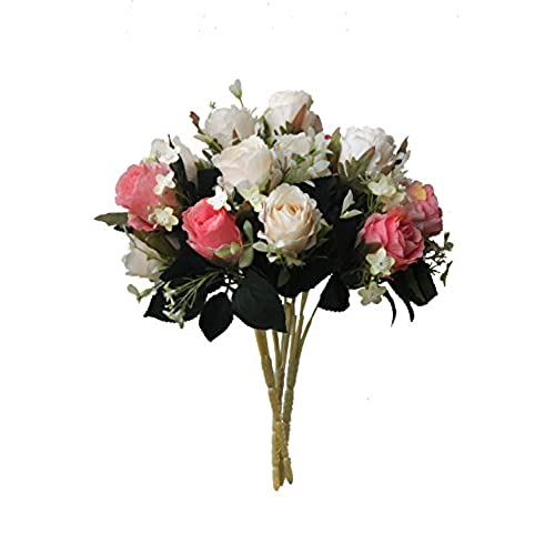 Silk flower arrangements amazon artificial multi coloured rose silk flowers bounquet mixed arrangement home hotel room wedding decoration5 head whitepink rosepack of 3 mightylinksfo