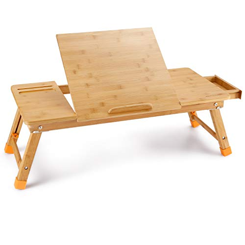 Astounding Large Bed Tray Nnewvante Adjustable Lap Desk Tilting Top Foldable Table Multi Tasking Stand Breakfast Serving Bamboo Supports Up To 17In Uwap Interior Chair Design Uwaporg