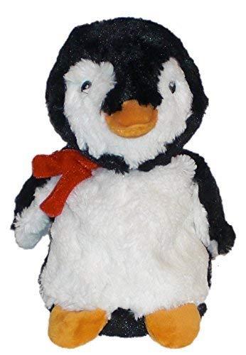 Inware 8753 - Coussin Chauffant Pingouin, noir/blanc. Réchauffer au micro-ondes, remplissage amovible