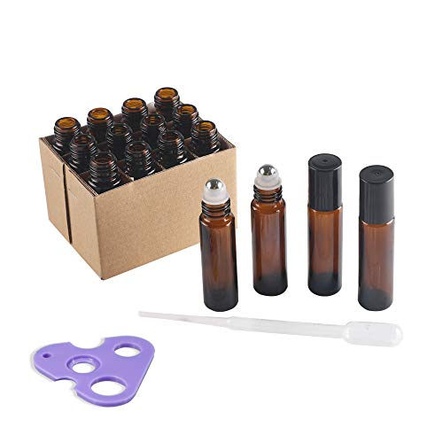 d3b57e54dc22 MYLL 12Pcs 10ML Glass Amber Essential Oil Roller Bottles with Stainless  Steel Roller Balls | Rollerballs Containers, Empty Roll On Bottles with ...