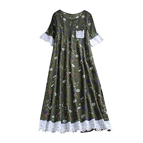 (CAOQAO Damen Casual Leinen Plue GrößE BöHmen Druckspitze Splice Tasche Dame Mode Lose Langes Kleid)