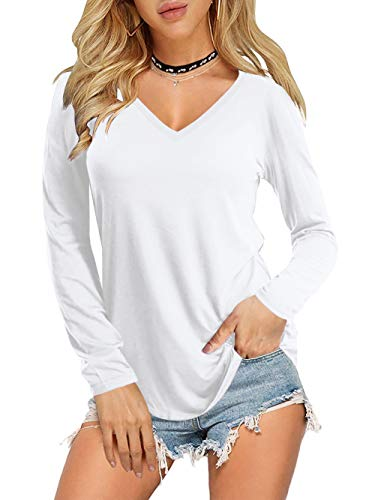 AMORETU Damen Langarm Shirt V-Ausschnitt Oberteile Herbst Tunika Bluse Weiß 48-50