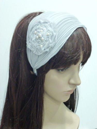 rougecaramel - accessoires cheveux - Serre tête/headband large plisse façon bandeau - gris souris