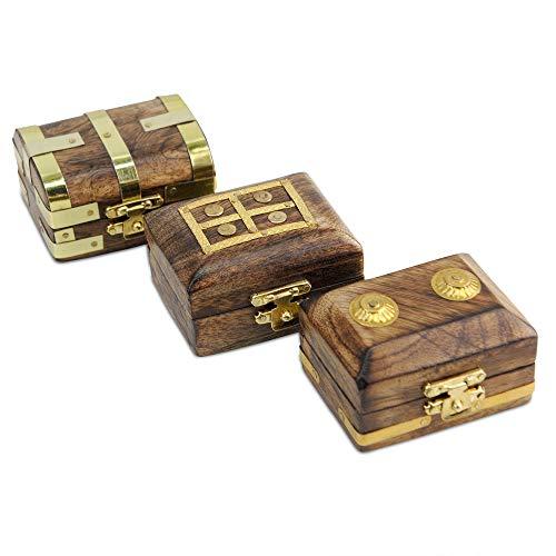 Brynnberg - kleine Mini Schatztruhe - 6,5x4,5x3,5cm Schatzkiste aus massives Holz - mit Deckel - für Ringe, Deko, Kinder, kleine Geschenke (3er Set)