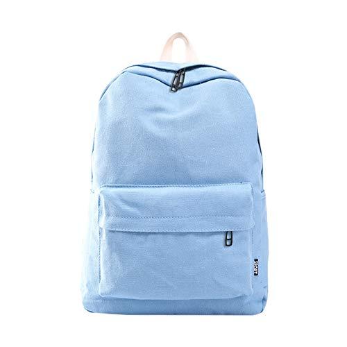 Skang Damen Canvas Rucksack Backpack Mode Wild Einfarbig Große Kapazität Mit Reißverschluss Daypacks Schüler Bag Schultaschen Handtasche(Einheitsgröße,Blau)
