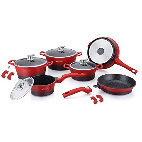 ROYALTY LINE Batterie de cuisine 14 pieces - Revetement marbre - Rouge