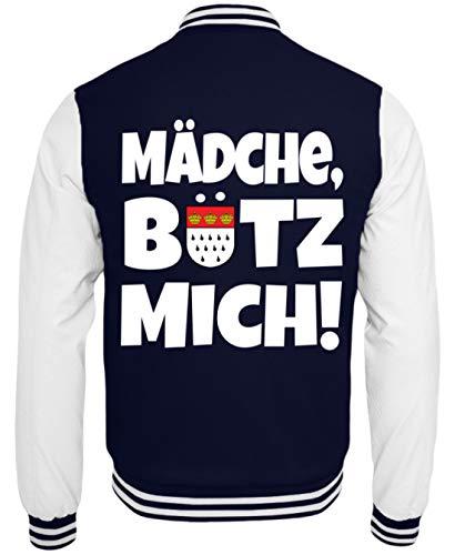 Humor Kostüm College - Köln - Mädche, Bütz Mich! Karneval - Geschenk - Überraschung - Colonia - Alaaf - College Sweatjacke -M-Dunkelblau-Weiss