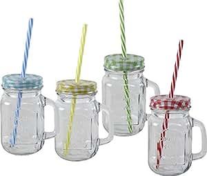 Trinkgläser mit Deckel und Trinkhalm 4 Gläser Set für