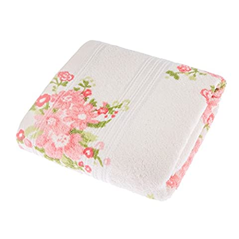 Homescapes 100% Portuguese Cotton Cream Hand Towel Pink, Coral and Green Floral Pattern