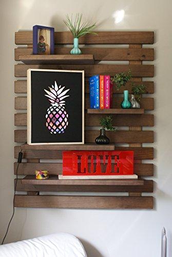 Liza line libreria da parete (noce marrone) stile vintage, libreria a giorno con 4 ripiani regolabili in vero pino massello, ideale per corridoio, cucina, salotto, bagno, camera. 101x80x21 cm