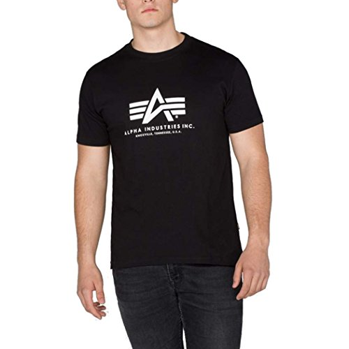 Preisvergleich Produktbild Original Alpha Industries Basic T-Shirt black - USA - High Quality Print - PRIME Versand, Farbe:Schwarz;Größe:M