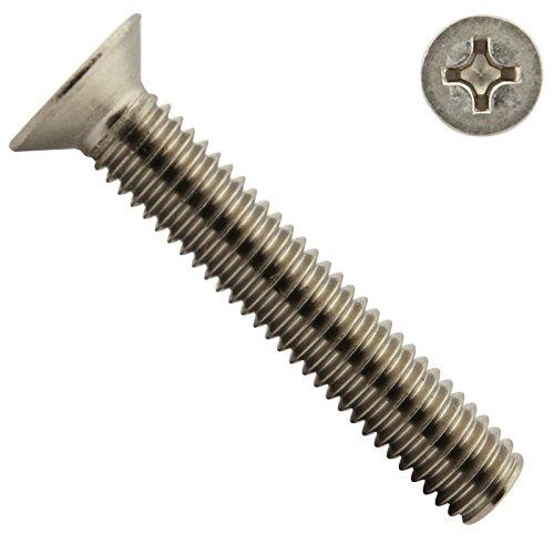 SC-Normteile | Senkkopfschrauben mit Kreuzschlitz ( Phillips ) | M4x14 | ( 50 Stück ) | DIN 965 H | Vollgewinde |aus rostfreiem Edelstahl A2 V2A | SC965H