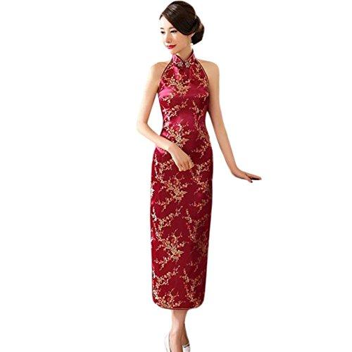 Haodasi Traditionell Verbesserte Frauen Rückenfrei Lange Hochzeit Cheongsam Kleid Retro Ärmellos Qipao Robe 15#