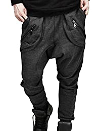 Hombres Harén Pantalone Slim Fit Casual Harem Pantalones De Deportes  Fitness Jogger Gris Oscuro L 649d9290bad8