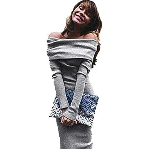Reasoncool Maglia a manica lunga con spalle inverno Stretch aderente vestito lungo