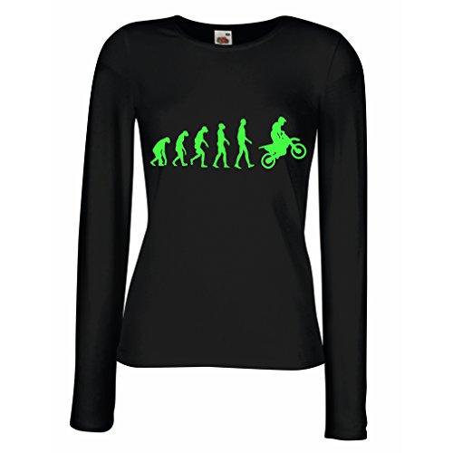 Maniche Lunghe Femminili T-Shirt Evoluzione Motocross, Moto Sporca, Maglia da Moto, Abbigliamento da Corsa, Moto da Fuoristrada (Large Nero Verde)