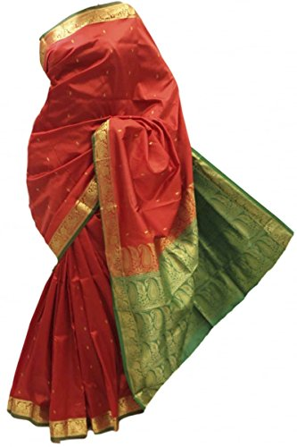 ASB3648 rosso e verde Arte della Seta Saree Indian Art Silk Saree Sari Curtain Drape Fabric Rosso