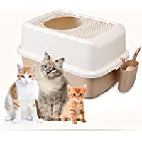 Cutepet Inodoro Arenero Para Gato Caja De Basura Rejilla Caja De Arena Semiacerrada Para Gatos Gato