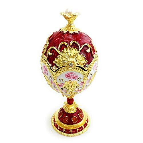 Dadahuam Ei Schmuckschachtel, Faberge Stil Ei-förmige Schmuckschachtel klappbar Schmuck Ring Halter Sammler Figurine Boxen Kristalle (Kristall-ring-box)