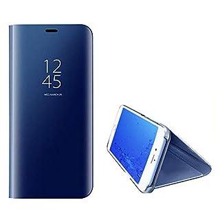 Yobby Luxus Spiegel Hülle für Samsung Galaxy A7 2018/A750,Handyhülle Technologie Überzug Durchsichtig Clever Aussicht Fenster Stand PC Flip Cover Schlank Schutzhülle-Blau