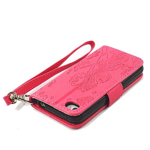 Case für iPhone 4, Schutzhülle für iPhone 4, Wallet Tasche für iPhone 4, Flip Hülle für iPhone 4 mit Lanyard, Vioela [Chic Blume Fee Muster] Prägung Stil Luxus Strass Diamant Glitzer PU Leder Handytas Hot Pink Fairy