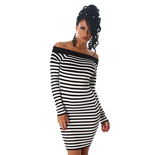 Jela London Damen Feinripp Kleid mit Streifen Muster Schwarz