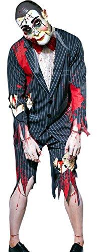 Puppet Kostüm Master Make Up (Zauberclown - Herren Karneval Halloween Kostüm Puppet Master, Dunkelgrau, Größe)