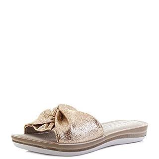 INBLU Womens BA000012 Platinum Metallic Slide Flip Flop Sandals Size 7
