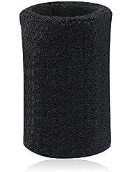 Kry algodón absorbente deportes muñequeras mano muñeca Sweatband Para Baloncesto Bádminton y tenis, color negro, tamaño 8 * 10 cm / 3.15 * 3.94 inch