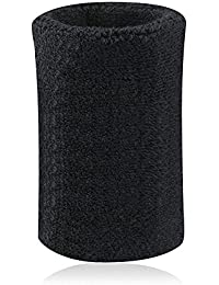 Kry - Muñequera / sudadera absorbente de algodón para deportistas de baloncesto, bádminton y tenis , negro