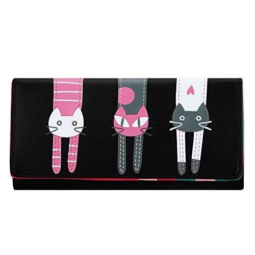 Damen-portfolio (Domybest Frauen Geldbörse Leder Portfolio kasele Bag Clutch Wallet Messenger Bag schwarz schwarz)