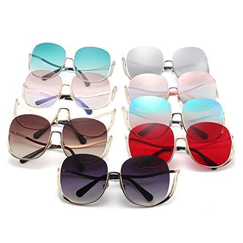 WWVAVA Sonnenbrillen Sonnenbrille Damen Luxury Brand Designer Übergroße runde Sonnenbrille Damen Gradient Shades Clear Eyewear, Gradient Brown Glass