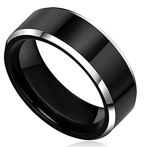 Stainless Steel Ring for Men, Band Ring Ring Gothic Black Band 8MM Size T 1/2 Epinki
