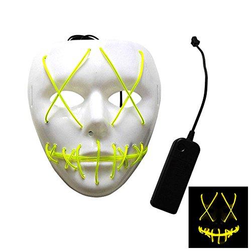 Rokoo Mode Halloween Cosplay Ghost Maske Slit Mund leuchten glühende EL Wire Nette Masken für Kostüm Party (Yellow) (Die Purge 2 Maske)