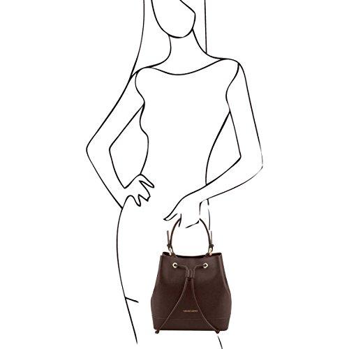 Italienische Ledertasche TL Minerva, Damen Schultertasche Secchiello aus Saffiano Leder, Made in Italy Dunkelbraun