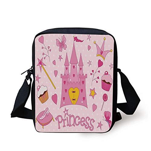 Kids,Little Princess Tiara Slippers Fairy Castle Butterfly Heart Lollipop Wand Cupcake Girls Party Print Decorative, Print Kids Crossbody Messenger Bag Purse