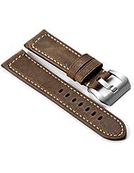 istrap 22mm Piel de vacuno Correa de Reloj hecha a mano pulsera de reloj militar cinturón cierre hebilla, color marrón oscuro