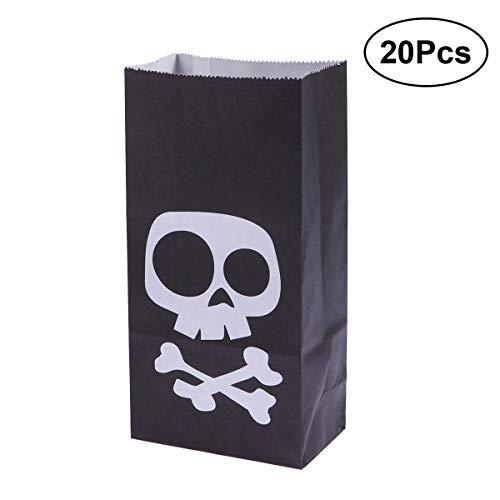 (SUPVOX Halloween Papier Süßes oder Saures Taschen Süßigkeiten Geschenk Goody Taschen Party Favors Schädel Taschen für Kinder Geburtstag Halloween Party Dekorationen 20 STÜCKE)