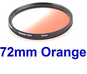 72MM Gradual Color Lens Filter (Orange) for ANY Camera Lens with 72MM Filter Thread