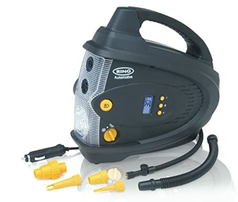 Ring RAC640 12V Automatic Digital Air Compressor and Inflator/Deflator, with LED Light, 6 Piece Adaptor Kit and Storage