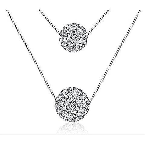 In argento Sterling placcato platino cristalli pavimentazione doppia sfera 40+ 5cm bizantina Catena Collana
