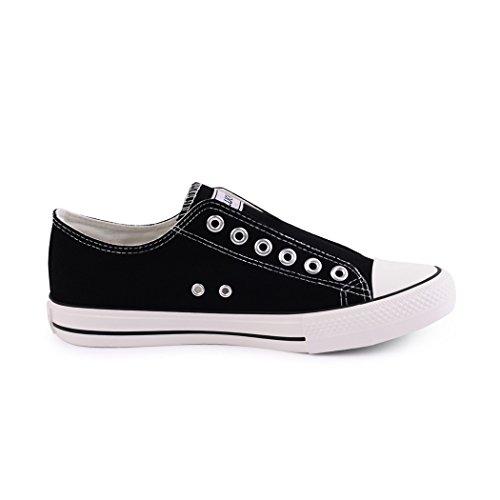 Sneakers best-boots da donna scarpe da ginnastica atletica scarpe Cords Slipper Nero (Black without)