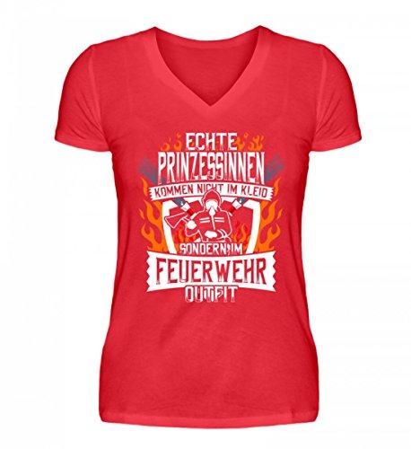 Shirtee Hochwertiges V-Neck Damenshirt - Echte Prinzessinnen Kommen IM Feuerwehr-Outfit - Freiwillige Feuerwehr Feuerwehrfrau Feuerwehrleute FFW 112 Feuerwehruniform Geschenk