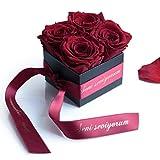 ROSEMARIE SCHULZ Heidelberg Seni Seviyorum Geschenk - Rosenbox konservierte Rosen haltbar 3 Jahre lang / 8,5 x 8,5 cm/Flowerbox / Valentinstag/Geschenkbox für Frauen (Seni Seviyorum, Dunkelrot)