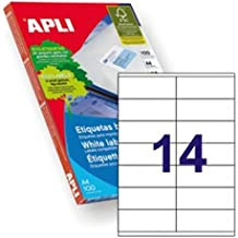 Apli 002604 - Pack de 100 etiquetas para impresora, 105 x 40 mm, color blanco