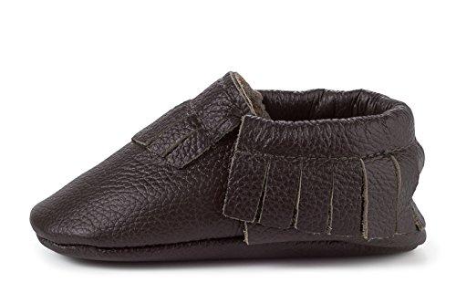 BirdRock Baby Mokassins weiche Sohle Leder Boys und Girls Schuhe für Kinder, Babys und Kleinkinder (große 1824 Monate US 6.5, Espresso) (Säuglings-camo-kleidung)